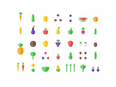 Healthy Ingredients food vegetables fruits flat minimal colorful farm icon icons icon set vegan sketch