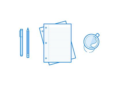 Illustration Exploration icon icons pen sheets paper micron minimal blue mug pencil bold line