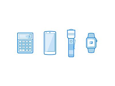 Illo Exploration pt2 flashlight calculator apple watch nexus minimal bold blue lines illustration