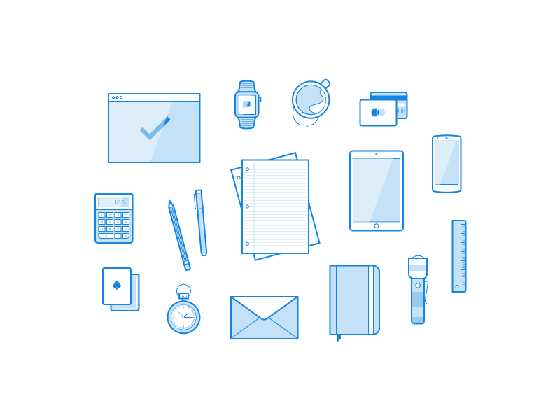 Freebie: 16 Line Illustrations ressources freebbble svg ai sketch minimal blue icons illustrations vector free freebies