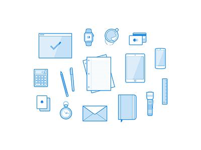 Freebie: 16 Line Illustrations ressources freebbble svg ai sketch minimal blue icons illustrations vector free freebies
