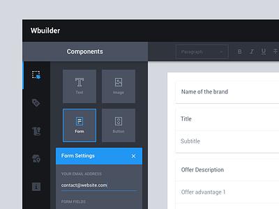 Wireframe Builder (WIP) blue material design ui ux wireframe drop drag menu sidebar dark app web