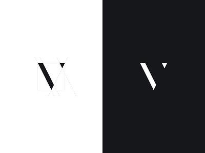 v mark + process letter icon symbol brand dark light monogram modern didone minimal branding logo