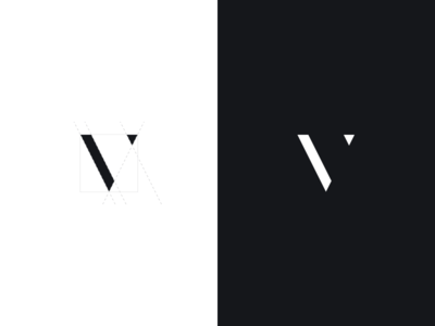 v mark + process letter icon symbol brand dark light monogram modern didone minimal branding logo