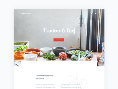 Housekitchen 2017 pt.2 white webdesign web red minimal landing home food cooking clean chef