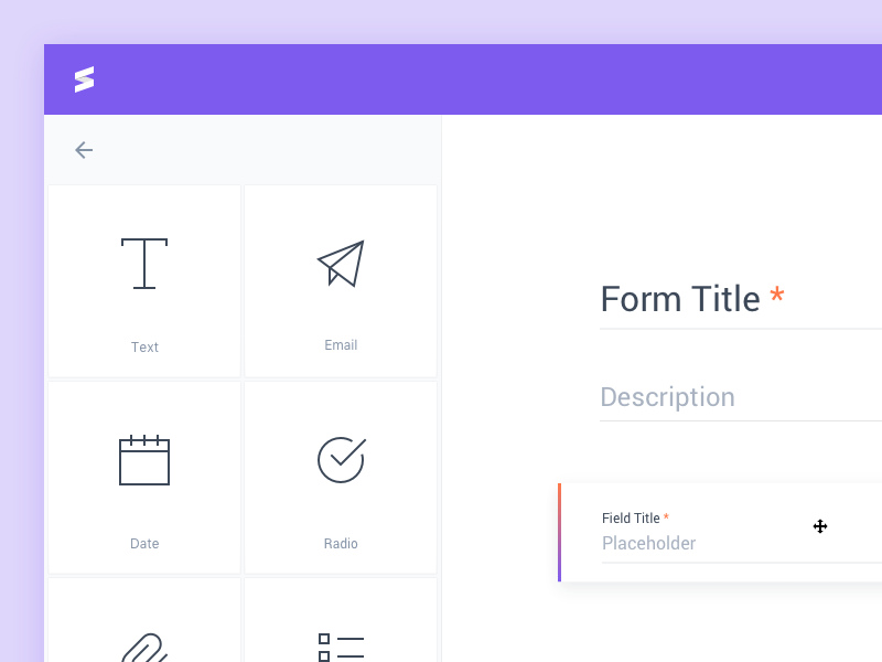 Form Builder input desktop webapp form web white minimal sidebar purple field drag icons