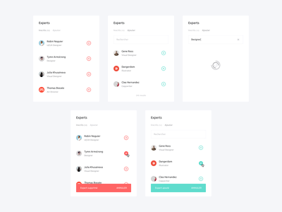 Manage Experts ux remove add users listing minimal white component web ui