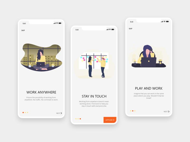 Minimalistic Onboarding mobile design ux ui app