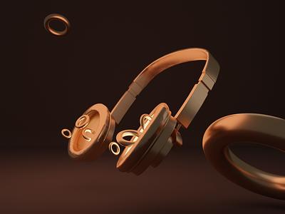 Headset headset gold glossy music blender 3d art design cyclesrender daily 3d blender3d