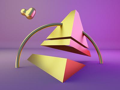 Torus - Pyramids gold glossy music low poly blender design 3d art cyclesrender daily blender3d 3d