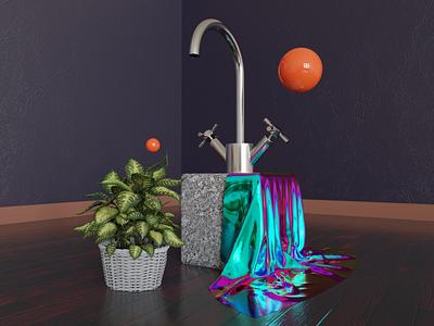 Abstract Interior sphere plant fabric cloth blender design 3d art cyclesrender blender3d 3d