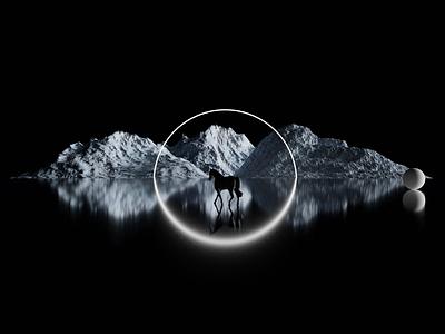 Horse dark render atmospheric blender design 3d art cyclesrender blender3d 3d