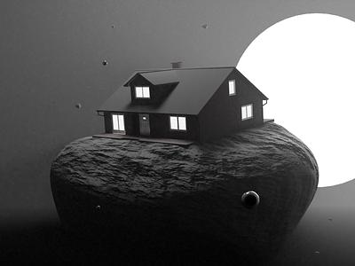 House on a rock render glossy music atmospheric blender design daily 3d art cyclesrender blender3d 3d