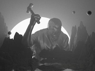 Hammer black and white music atmospheric blender design daily 3d art cyclesrender blender3d 3d