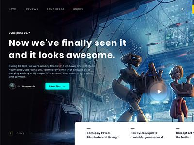 Game Blog web website debute debutshot ux ui futuristic neon slider header glitch landing page dark clean news game blog blog game design webdesign