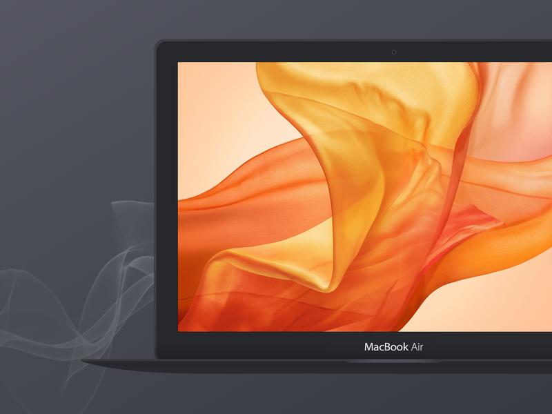 Dark Apple Macbook Air Mockup psd vector macbook air apple devices free mockup design