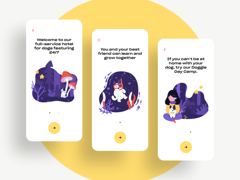Take care of your pet's needs, all in one place. multicolor ux ui product design awsmd charity dog art pet care nature dog illustration illustration application ui onboarding mobile animals adoption