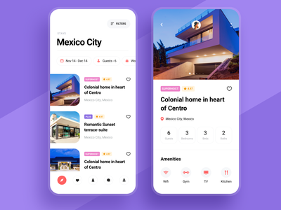 Vacation rental travel app minimal clean product page filters guests mobile design mobile app listing property search real estate rental rent property vacation rentals vacation rental travel bed and breakfast