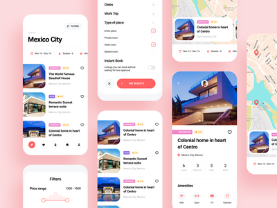 Rentals booking mobile app experience clean location map product page filters booking app booking room hotel host guests mobile app design mobile design mobile app rental app rentals rent vacation rentals vacation rental bed and breakfast