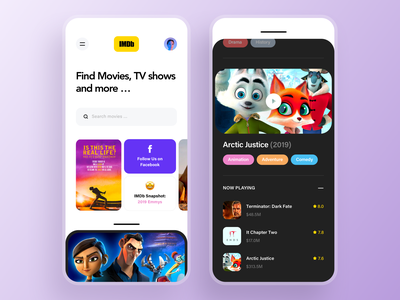 Imdb mobile app design tv shows cartoons theater iphone minimalistic clean ux ui mobile ui mobile app search listing cinema movie app movies imdb