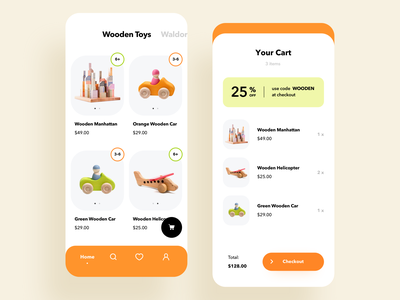 Toys store mobile e-commerce experience parents kids design ui minimal clean ios mobile app cart online shopping catalog e-commerce store shop toys