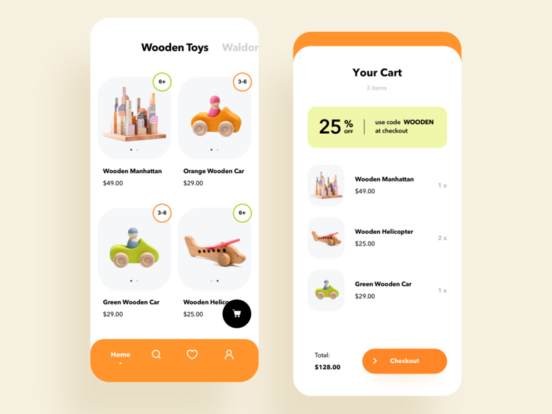 Toys store mobile e-commerce experience parents kids design ui minimal clean ios mobile app cart online shopping catalog e-commerce store shop toys