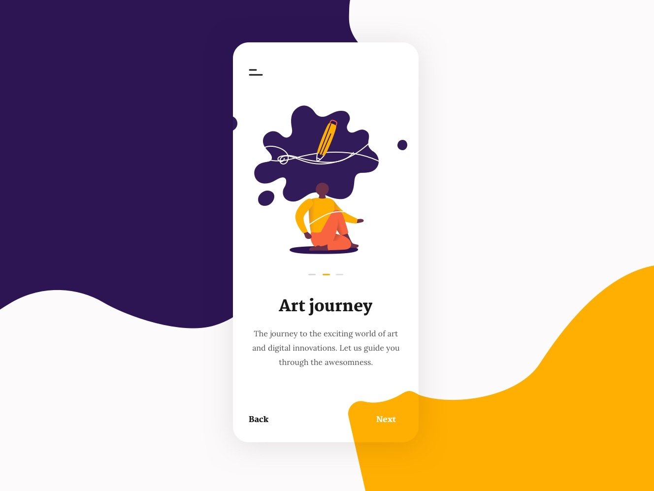 Art Store Mobile App Onboarding clean minimal onboarding art ios mobile app ui illustration