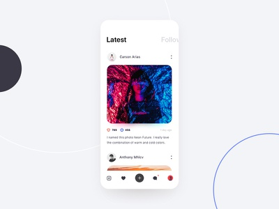 Social Network App Design sharing photos chat network social ui ios mobile app minimal