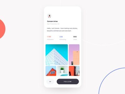 Social Network App Profile Page profile social network design clean ui mobile app minimal ios
