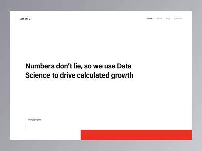 Data-driven design agency website agency studio portfolio gif video animation homepage design landing homepage clean ui minimal