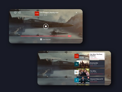 Our new live player with integrated channel changer is out! iphone x android minimal app design live colour video player ux ui iphone ios