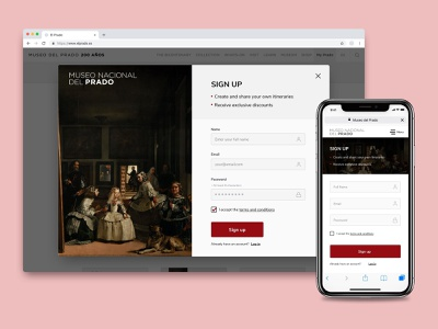 El Prado Museum signup page • Daily UI 001 ios design android website signup web ux ui app