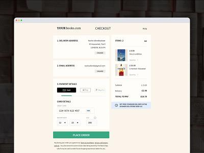 Bookshop checkout page •Daily UI 002 branding ecomerce checkout minimal ios design colour app ux ui