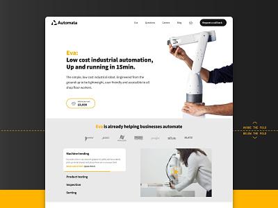 Automata robotics landing page • Daily UI 003 app ecomerce minimal colour ux design uiux ui landing page