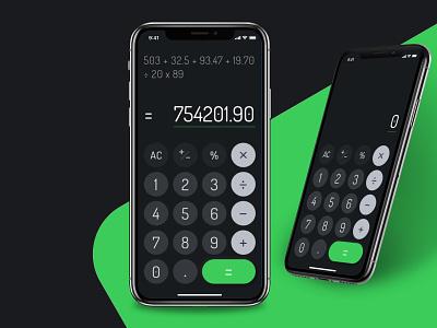 Not so minimal calculator •Daily UI 004 financial uiux app design colour dark theam calculator colours mobile ios daily ui ui ux