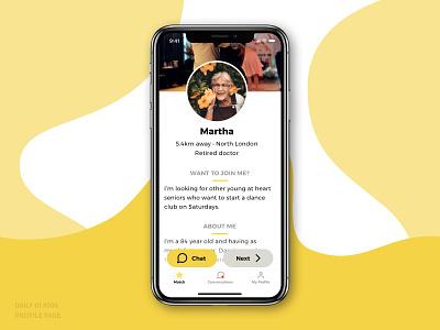 Activity Finder for Retirees • Daily UI 006 icon typography illustration uiux ios design colour ux ui app