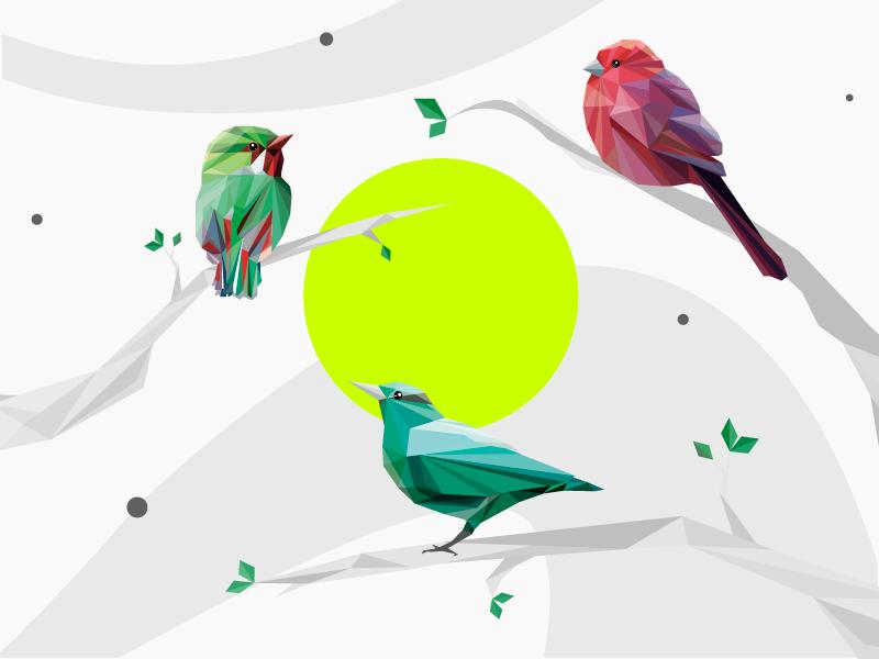 birds геометрия птицы милый иллюстрация дизайн вектор