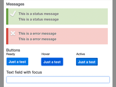 Style guide messages buttons text field input blue flat