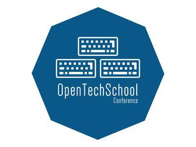 Open Tech School Logo logo blue keyboard brand
