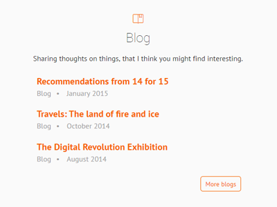 My Blogs blog listing orange icon
