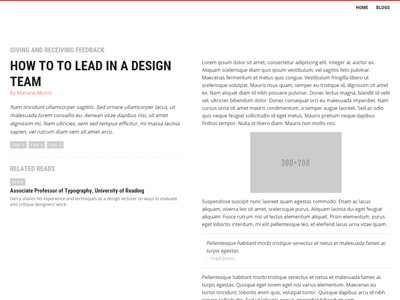 Talking design article (full) sidebar fixed tags impact subtitle magazine style article simple grey red