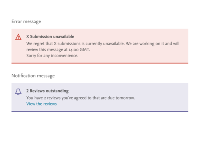 A couple of in page messages in page notification message error