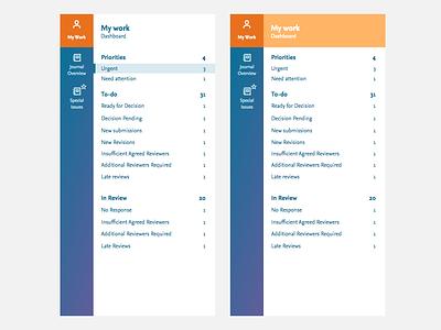 Team view menus brand clean blue simple data navigation highlighted hover colors colours sidebar mega menu menu