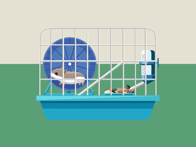 Hamster in a cage (character animation for Safe Space health) after effects ae interface html javascript json svg web animation after effects motion graphics lottie bodymovin after effects animation hamster wheel hamster animal after effects web ux vector ui illustration animation