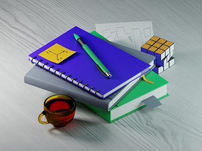 3d education work wood glass pen nodes textures books tea cycles blender education graphic design 3d illustration isometric illustration isometric