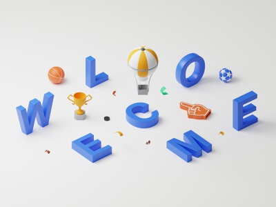 Eurostavka: Welcome illustration colors foam finger letter whistle tennis cup soccer basketball hockey confetti welcome sport illustration isometric cycles blender graphic design 3d