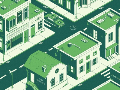 Green town ghetto green color district store school vector drugs syringe texture design isometric city town police car isometric illustration 2d