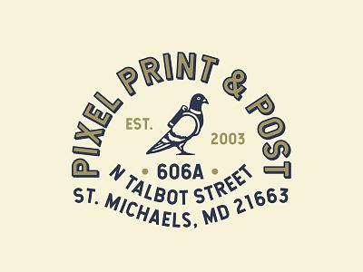 Pixel Print & Post lock up illustration design logo