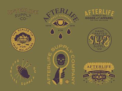 Afterlife Supply Company type badge apparel design typography branding lock up logo illustration design