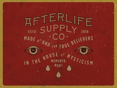 Afterlife Supply Company distressed type typography lock up branding illustration logo design